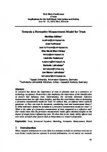 Towards a Formative Measurement Model for Trust 1 Introduction