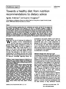 Towards a healthy diet: from nutrition ... - Food & Nutrition Research