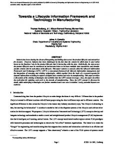 Towards a Lifecycle Information Framework and Technology in ... - NIST