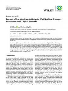 Towards a New Algorithm to Optimize IPv6 Neighbor Discovery ...