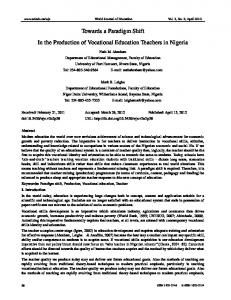 Towards a Paradigm Shift In the Production of Vocational Education ...