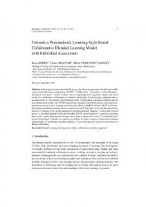 Towards a Personalised, Learning Style Based ... - Semantic Scholar
