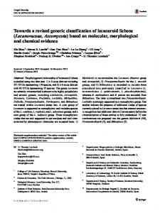 Towards a revised generic classification of lecanoroid lichens ...
