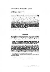 Towards a theory of mathematical argument - CiteSeerX