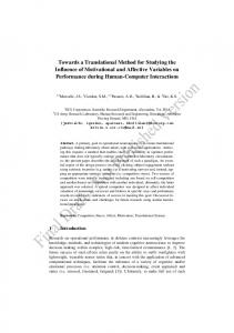 Towards a Translational Method for Studying the