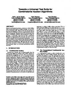 Towards a Universal Test Suite for Combinatorial Auction Algorithms