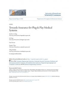 Towards Assurance for Plug & Play Medical Systems