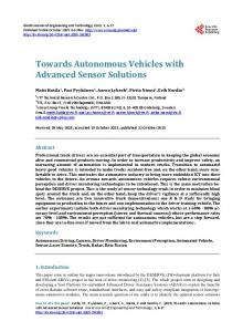 Towards Autonomous Vehicles with Advanced Sensor Solutions