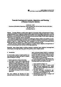 Towards Combinatorial Analysis, Adaptation, and ... - Springer Link