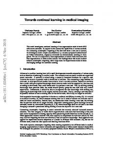 Towards continual learning in medical imaging