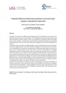 Towards effective institutional policies to promote
