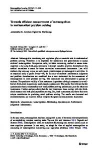 Towards efficient measurement of metacognition in mathematical ...