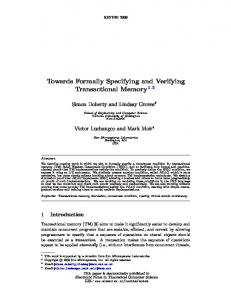 Towards Formally Specifying and Verifying Transactional ... - CiteSeerX