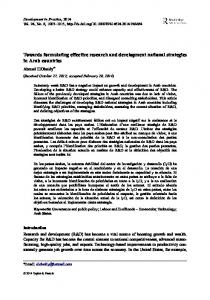 Towards formulating effective research and development national ...