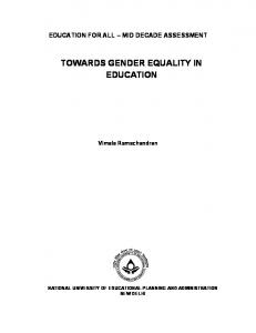 Towards Gender Equality in Education - Teacher Education