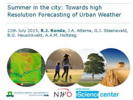 Towards high Resolution Forecasting of Urban Weather