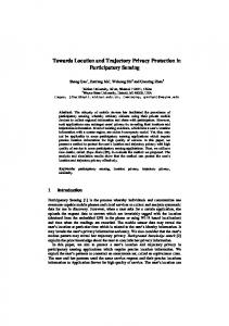 Towards Location and Trajectory Privacy ... - Computer Science