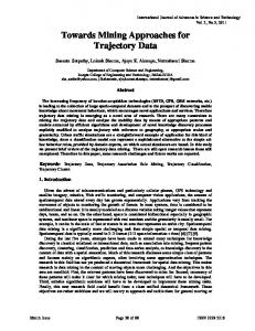 Towards Mining Approaches for Trajectory Data