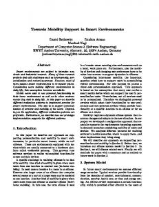 Towards Mobility Support in Smart Environments