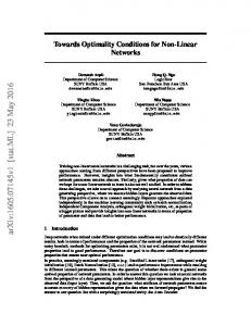 Towards Optimality Conditions for Non-Linear Networks