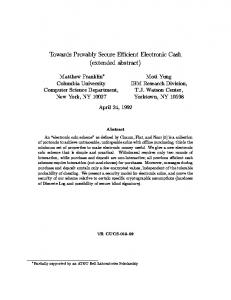 Towards Provably Secure E cient Electronic Cash - Semantic Scholar