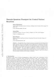 Towards Quantum Transport for Central Nuclear Reactions
