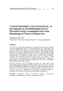 Towards Sustainable Urban Environment: An Investigation on the ...