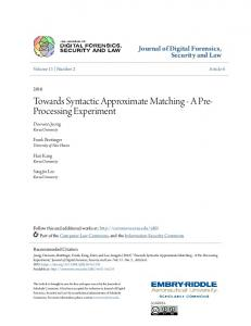 Towards Syntactic Approximate Matching - A ... - Scholarly Commons
