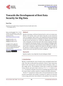 Towards the Development of Best Data Security for Big Data