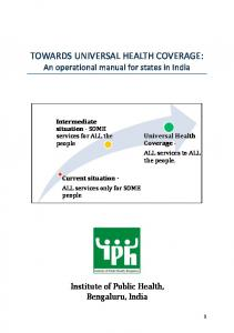 Towards universal health coverage - Institute of Public Health