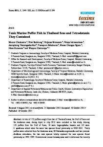 Toxic Marine Puffer Fish in Thailand Seas and ... - BioMedSearch