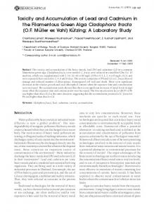 Toxicity and Accumulation of Lead and Cadmium in the ... - CiteSeerX