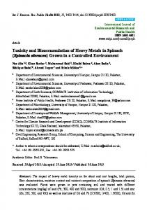 Toxicity and Bioaccumulation of Heavy Metals in Spinach - MDPI