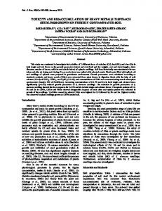 toxicity and bioaccumulation of heavy metals in spinach seedlings ...