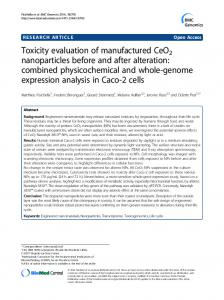 Toxicity evaluation of manufactured CeO2 nanoparticles ... - CiteSeerX