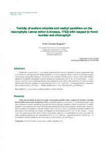 Toxicity of sodium chloride and methyl parathion on