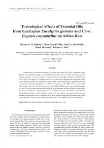 Toxicological Affects of Essential Oils from Eucalyptus Eucalyptus ...