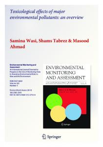 Toxicological effects of major environmental pollutants