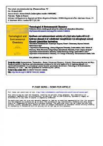 Toxicological & Environmental Chemistry Synthesis ...