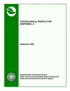 Toxicological Profile for Bisphenol A
