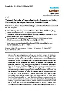 Toxigenic Potential of Aspergillus Species Occurring ... - BioMedSearch