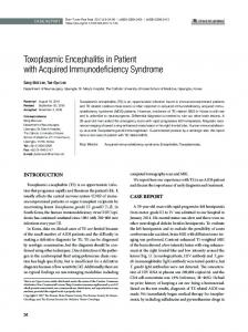 Toxoplasmic Encephalitis in Patient with Acquired