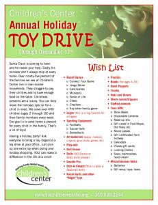 Toy Drive Wish List - Childrens Center