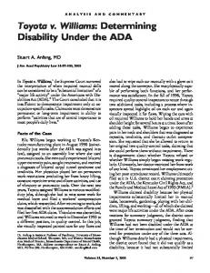 Toyota v. Williams: Determining Disability Under ... - Semantic Scholar