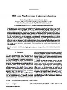 TP53 codon 72 polymorphism in pigmentary phenotypes