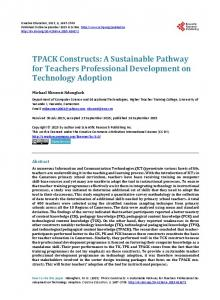 TPACK Constructs: A Sustainable Pathway for Teachers Professional ...