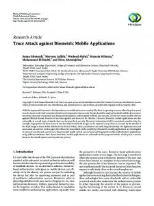 Trace Attack against Biometric Mobile Applications