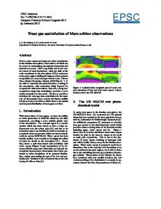 Trace gas assimilation of Mars orbiter observations - The Open ...