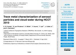 Trace metal characterization of aerosol particles
