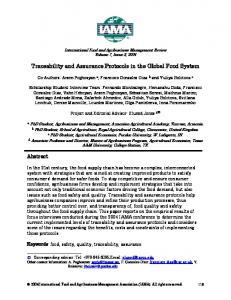 Traceability and Assurance Protocols in the Global ... - AgEcon Search
